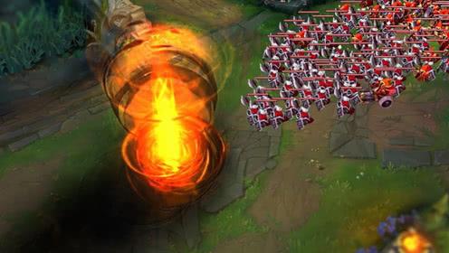 LOL亚索vs100小兵,你见过吹出龙卷风的亚索吗