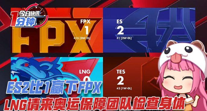 今日快讯:ES2比1赢下FPX,LNG请来奥运保障团队检查身体